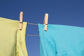 Wäschetrocknen auf der Wäscheleine