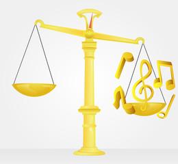 weight measure of golden music sound vector
