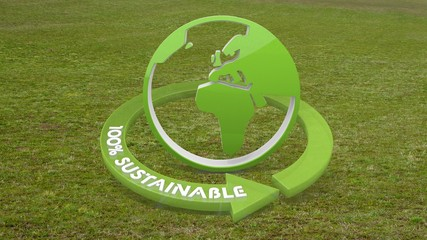 3d graphic of a environmental like icon  on grass