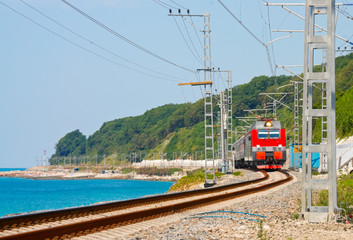 Train travels along the coast of the Black Sea