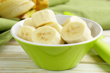 Fresh ripe banana peeled and sliced