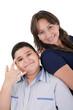 Happy hispanic mother and son portrait