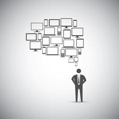 Businessman computer icon speech bubble vector
