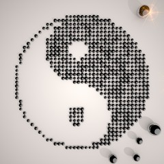 3d graphic of a creative sexy woman symbol made of many spheres
