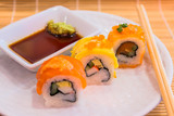 A diverse selection of delicious Japanese sushi