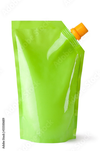 Plastic pouch with batcher