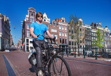 Riding a bike in Amsterdam