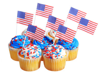 Patriotic cupcakes decorated with American Flags, isolated