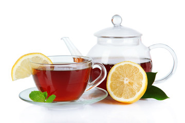 Cup of tea with lemon isolated on white