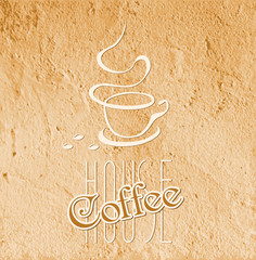 coffee house symbol on grunge background