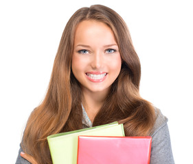 Student Girl Portrait. Teenage Girl Holding Exercise Books