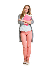 Student Girl Full Length Portrait. Teenage Girl Holding Books