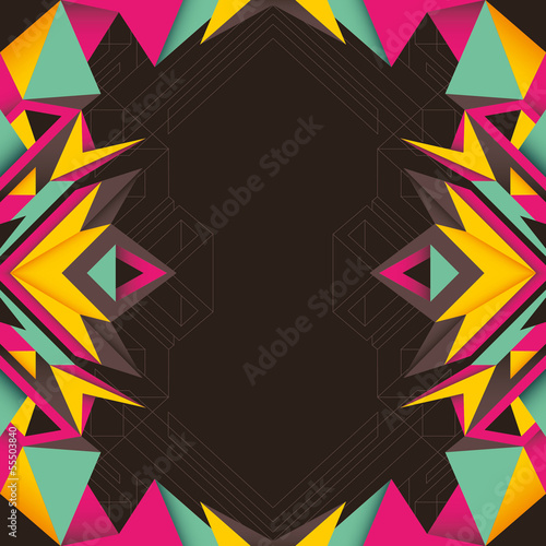 Abstract composition with angular shapes in color.