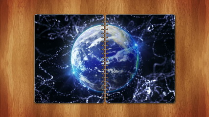 Earth in Book, with Blue Screen, Loop