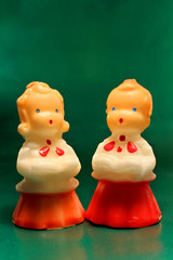 Antique decorative Christmas choir candle boy & girl figurines