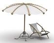 Пляжный зонт и шезлонг