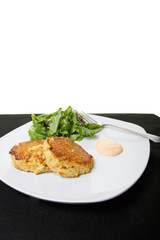 Crab Cakes and Salad with White Background