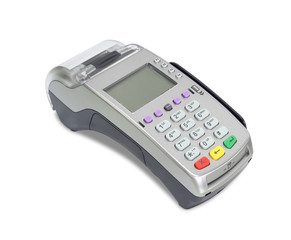 Credit card machine (with clipping path) isolated on white backg