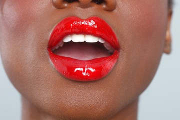 Red Lips Makeup Detail With Sensual Open Mouth