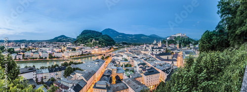 Salzburg skyline as seen from the Monchsberg viewpoint, Austria