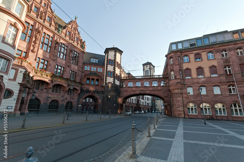Frankfurt main plaza  and historic buildings, Germany.
