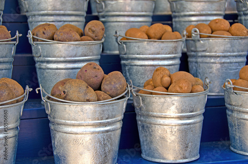 potatoes in metal pails