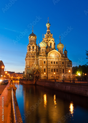 Church of the Savior on blood at night, St Petersburg, Russia