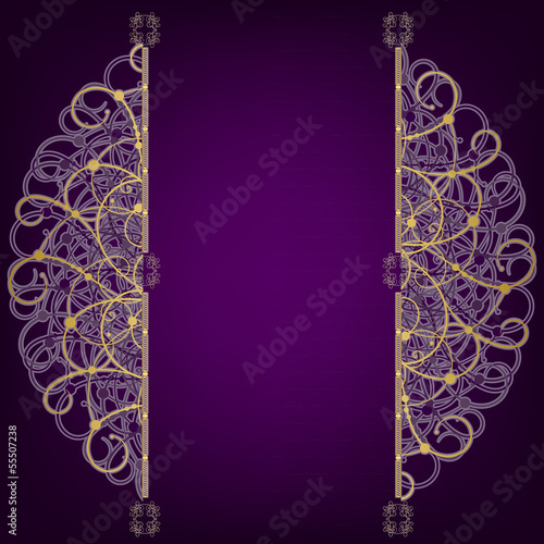 Golden oriental round ornament on a purple background, place for