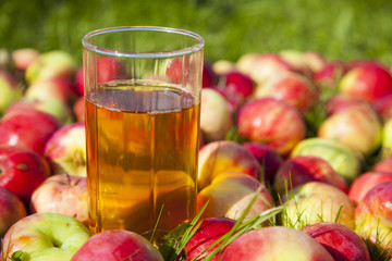 Apples with a glass of juice