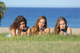 Teenager girls typing on the mobile phone lying on the grass