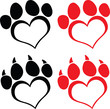 Red Love Paw Print With Claws. Set Collection