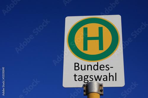 Haltestellenschild Bundestagswahl