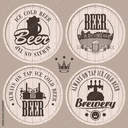 set of labels to beer on wooden casks