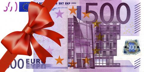 500 Euroschein mit breiten Band an Ecke