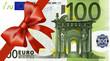 100  Euroschein mit breiten Band an Ecke