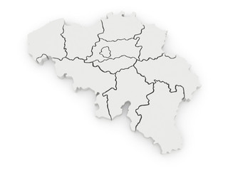 Three-dimensional map of Belgium.