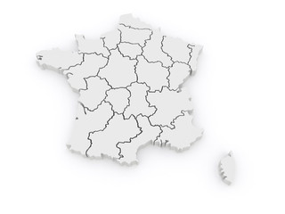 Three-dimensional map of France.