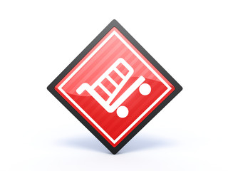 shopping cart rectangular icon on white background