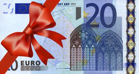 20 Euroschein mit breiten Band an Ecke