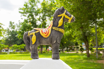 black sacred horse with decorated