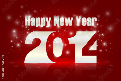 Happy new Year 2014, vector illustration.