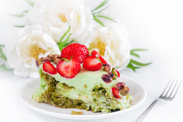 Close up of creamy pistachio cake