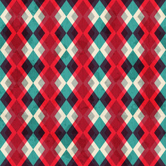 red rhombus seamless pattern with grunge effect