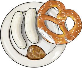 teller mit weißwurst frühstück