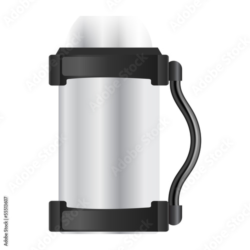 Silver thermos flask on a white background