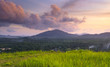 Grass Mountain and blue sky background located in Ranong, Thaila