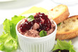 Smooth pate with cranberry sauce
