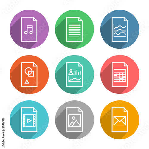 Document vector icons set