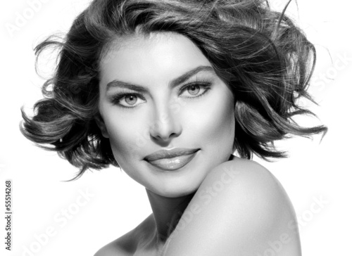 Beauty Young Woman Black and White Portrait. Short Curly Hair