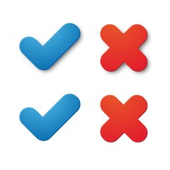 Blue tick and red x